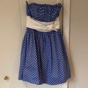 EASTER Dress! Fun Blue and White Polka Dot Dress